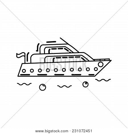 Vector Boat In Thin Line Stile. Design Element Or Yacht Club, Travel Agency, Broshure.