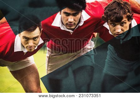 Rugby players ready to play at the park