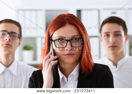 Beautiful Redhead Smiling Businesswoman Talk Cellphone In Office Portrait. Stay In Touch Negotiate M