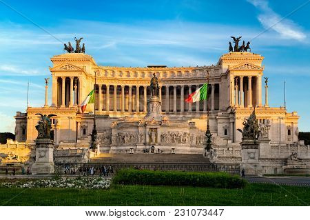Rome, Italy - April 11, 2017: Altar Of The Fatherland (altare Della Patria) Known As The Monumento N