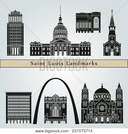 Saint Louis Landmarks And Monuments Isolated On Blue Background In Editable Vector File