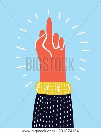 Vector Cartoon Illustration Of Hand Gesture, Fuck You, Symbol. Middle Finger Sign. Cartoon Vector Il