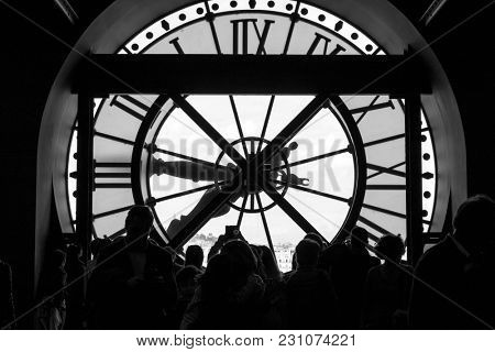 Paris, France, March 28 2017: Inside view of the clock of Orsay museum in Paris