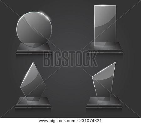 Trophy Award Glass Vector. Empty Glass Trophy