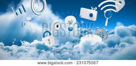 Various internet icons against tranquil scene of overcast against sky