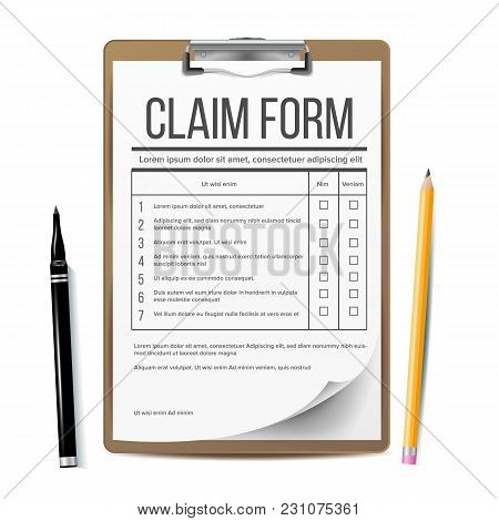 Claim Form Vector. Medical, Office Paperwork. Clipboard Realistic Illustration