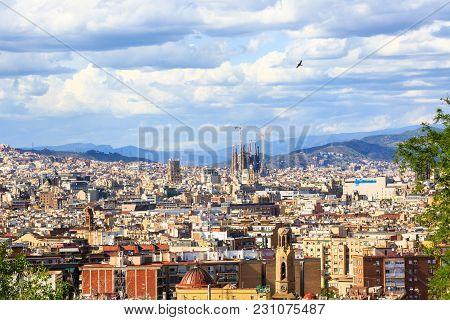 Barcelona, Spain - May 27, 2016: Aerial View Of Barcelona Churches, La Cathedral De La Santa Cruz Y