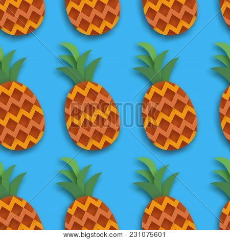 Pineappple Seamless Pattern. Anana In Paper Cut Style. Origami Healthy Food On Blue. Summertime. Vec