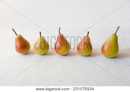Juicy Yellow Pears On White. Tasty Yellow Pears