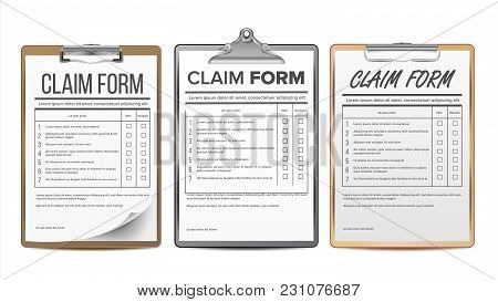Claim Form Set Vector. Business Agreement. Legal Document. Insurance Illustration