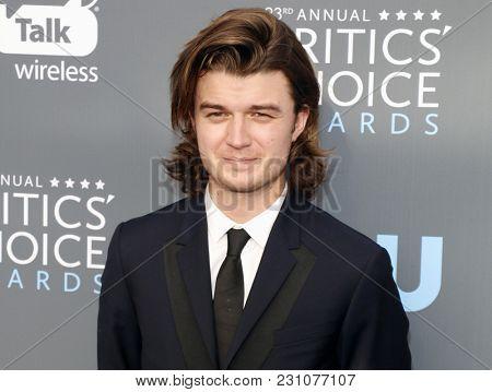 Joe Keery at the 23rd Annual Critics' Choice Awards held at the Barker Hangar in Santa Monica, USA on January 11, 2018.