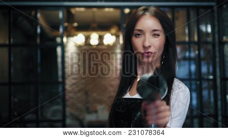 Beautiful brunette hairstylist with professional hair dryer look in camera and smiles in hair salon. poster