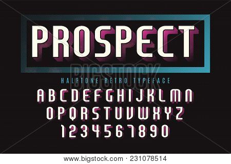Vector Display Font Design With Halftone Shadow, Alphabet, Character Set, Typeface, Typography, Lett