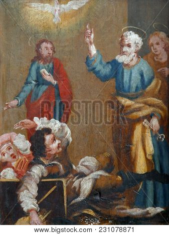 LEPOGLAVA, CROATIA - MARCH 17: Scenes from the life of St. Peter, picture on a wardrobe in the sacristy of the church of the Immaculate Conception in Lepoglava, Croatia on March 17, 2017.