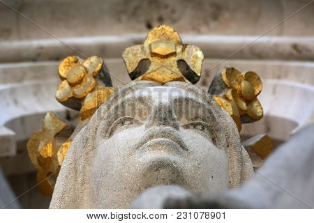 ZAGREB, CROATIA - APRIL 10: Virgin Mary statue on the portal of Zagreb cathedral dedicated to the Assumption of Mary in Zagreb, Croatia on April 10, 2015.