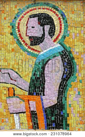 SISAK, CROATIA - DECEMBER 07: Saint Joseph, mosaic in the Church of Saint Joseph in Sisak, Croatia, on December 07, 2017.
