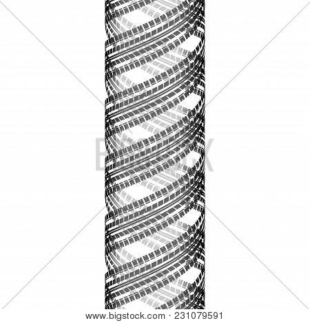 Black Cylindrical Tire Tracks Silhouette Isolated On White Background