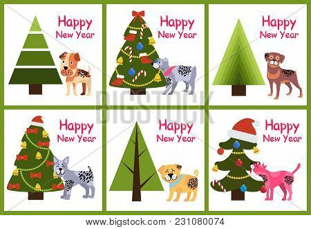 Set Of Happy New Year Posters With Abstract Christmas Trees And Cute Puppies With Spots Vector Illus
