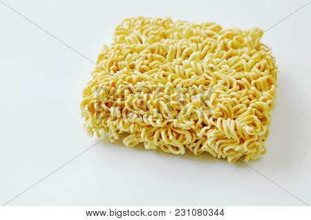 Dry Instant Noodles On The White Background