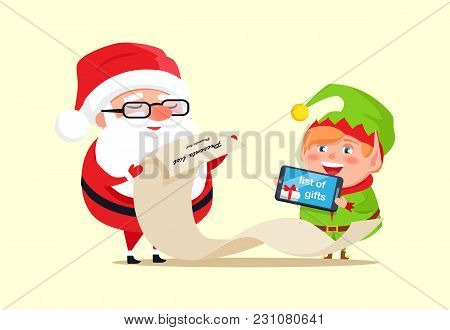 Santa Claus And Elf Checking Out Gift List Icon Isolated On White. Vector Illustration With Santa An