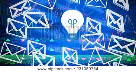 Message symbol around the light bulb sign against stocks and shares