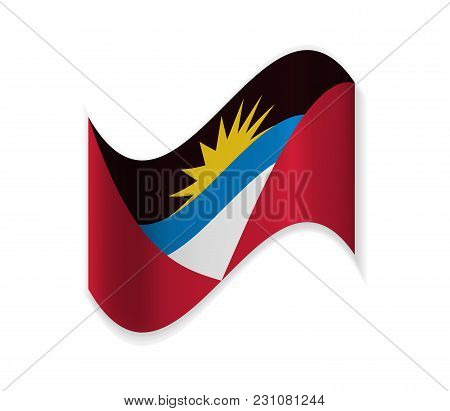 Flag Of Antigua And Barbuda. Country In The Atlantic Ocean. Islands In The Caribbean Sea. National S