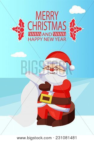 Merry Christmas Happy New Year Poster With Mistletoe Santa Claus Reading Wishlist Sitting On Wooden