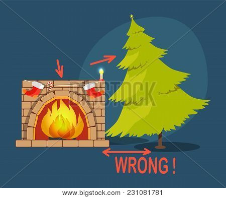Wrong Poster With Christmas Tree And Fireplace With Socks, Shown Distance Between Two Objects, Vecto