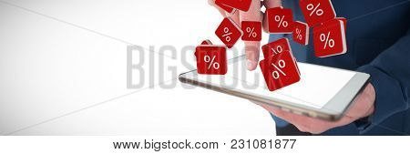 Close up mid section of businessman using tablet PC against percent sign vector icon