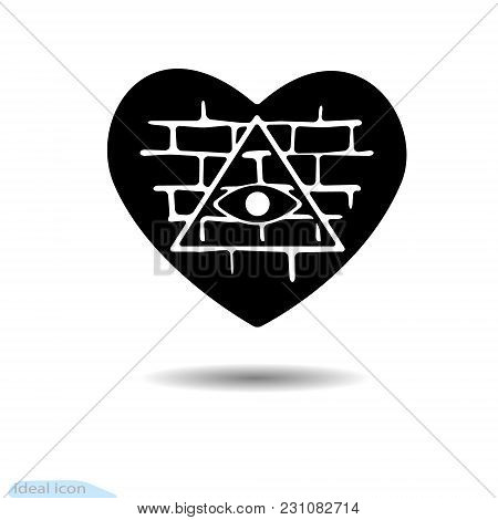 Heart Icon. All-seeing Eye. A Symbol Of Love. Valentine S Day. Brick Wall. Black As Coal. Frame. A L