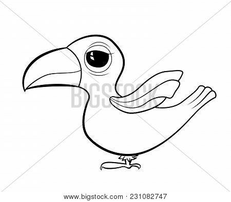 Cartoon Bird Toucan. Coloring Book For Kids. Vector Illustration. Cute Tropical Animals.