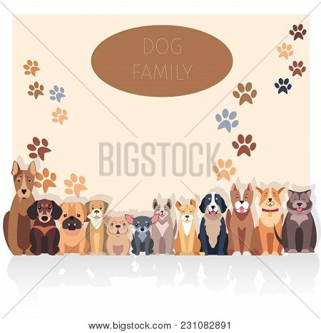 Dog Family Banner In Purebred Concept. Vector Of Bernese Mountain And Central Asian Hounds, French A