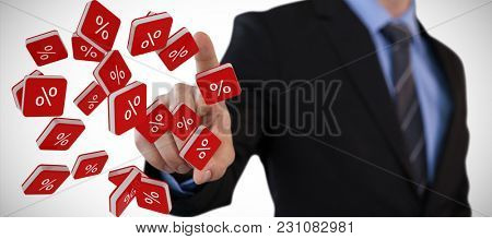 Mid section of businessman touching index finger on invisible screen against percent sign vector icon