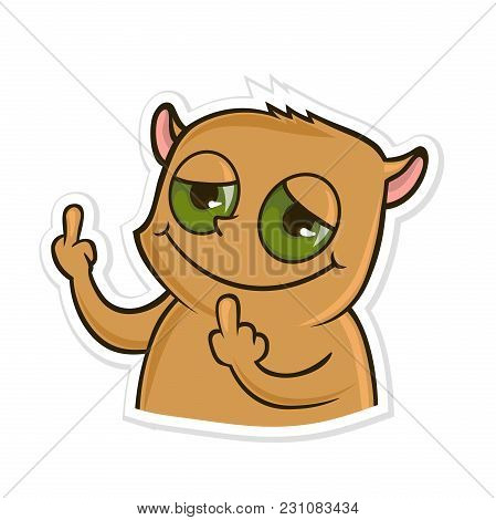 Sticker For Messenger With Funny Animal. Hamster Showing Fuck You Hand Gesture. Middle Finger Sign.