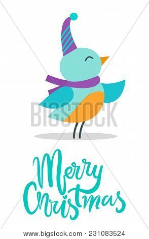 Merry Christmas, Image Of Little Birdie And Title, Bird Wearing Hat And Purple Scarf And Singing Wit