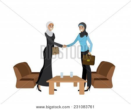 Handshake Of Two Muslim Business Women Wearing Hijabs, Isolated On White Background, Cartoon Vector
