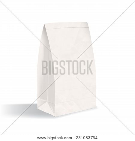Clean Package Isolated On White Background. Realistic Blank Paper Flat Bottom Gusset Bag. Mock-up. M