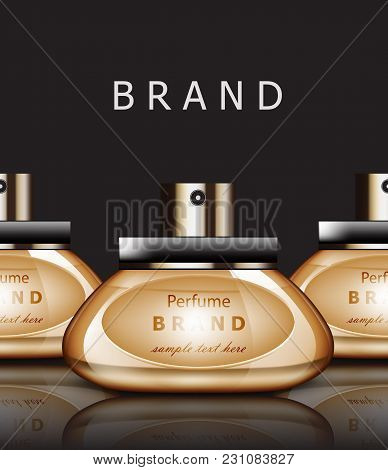 Golden Perfume Realistic Vector Packaging. Products Label Design Mock Up