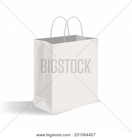 Blank Flat Bottom Takeout Bag With Twisted Handles. Clean Paper Packaging Isolated On White Backgrou