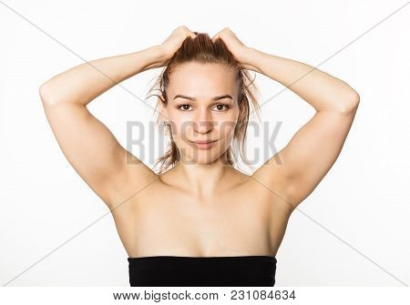 Beautiful Girl Performs Anti-aging Exercises. Face Fitness For Anti Sagging Skin.