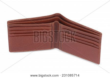 Elegant Brown Leather Wallet With Featuring Slip Pockets, Multiple Card Slots And An Id Card Window,