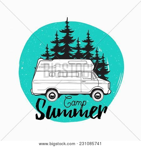 Camper Trailer, Campervan Or Recreational Vehicle Driving On Road Against Spruce Trees On Background