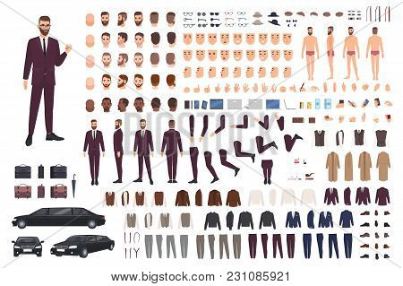 Elegant Man Dressed In Business Or Smart Suit Creation Set Or Diy Kit. Collection Of Body Parts, Sty