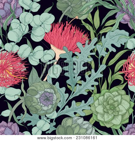 Romantic Seamless Pattern With Wild Blooming Flowers And Herbs Used In Floristry Hand Drawn On Black