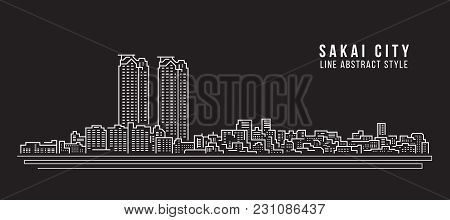 Cityscape Building Line Art Vector Illustration Design - Sakai City