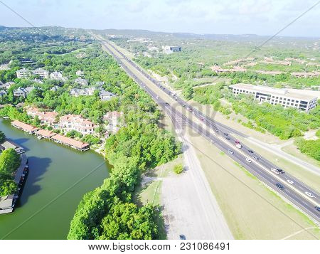 Aerial View North Capital Of Texas Highway In Austin, Texas, Usa