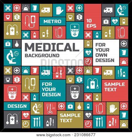 Medical Design Background With Square Treatment Symbols Flat Vector Illustration