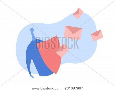 Spam Filter, Male Shield Off Unwanted Advertising Messages. Concept Vector Illustration In Abstract