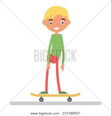 Vector Summer Illustration In Modern Trendy Flat Linear Style - Happy Guy Skateboarding - Young Char