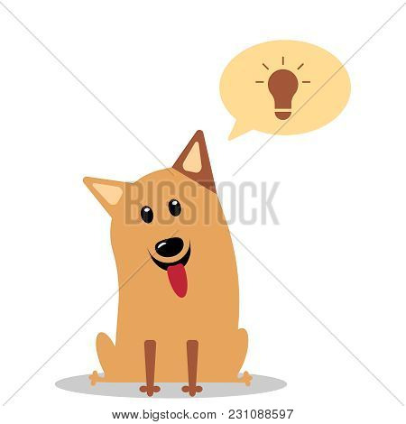 Dog Having Great Ideas Showing A Glowing Lightbulb. The Dog Invented Something. Vector Flat Icon Ill